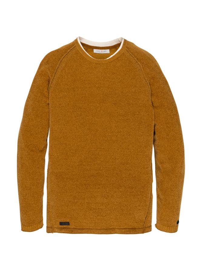 R-neck knit chenille Chai Tea - CKW206323-1151