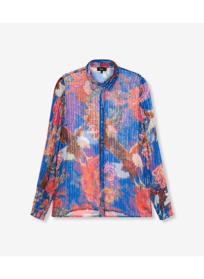 Lurex flower blouse intense blue