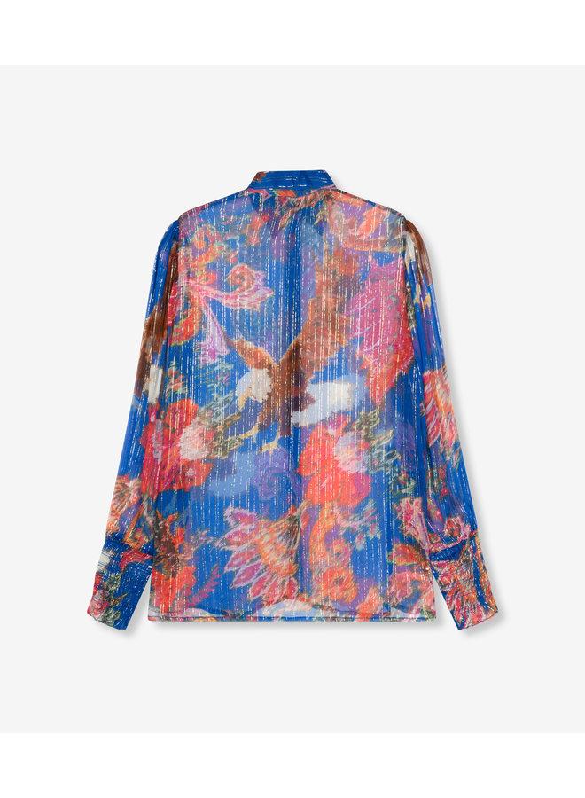 Lurex flower blouse intense blue - 204922630-185