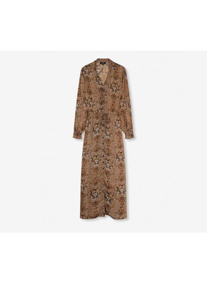 Animal crepe maxi dress