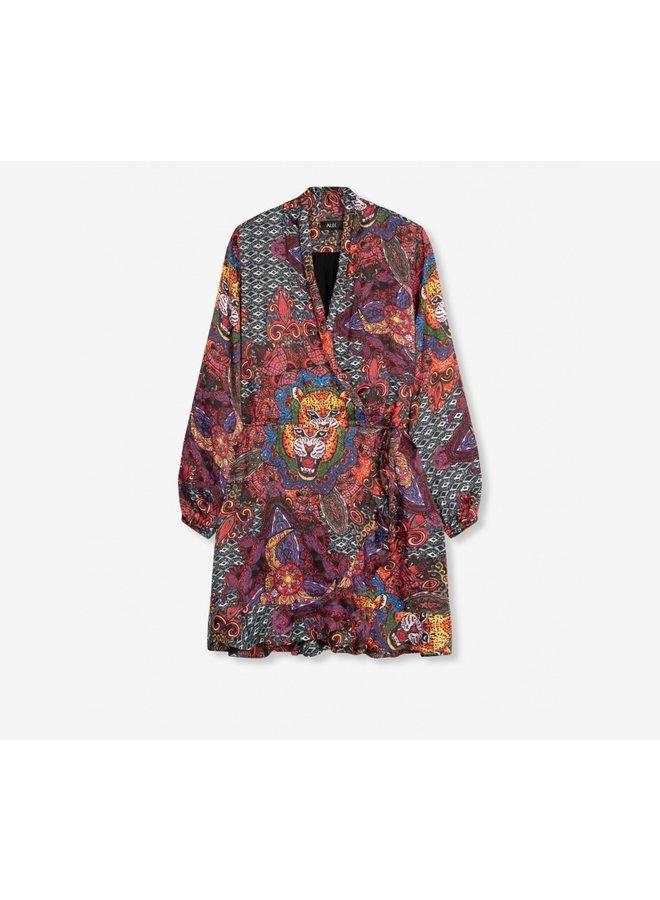 Ethnic satin short dress - 204315653-100
