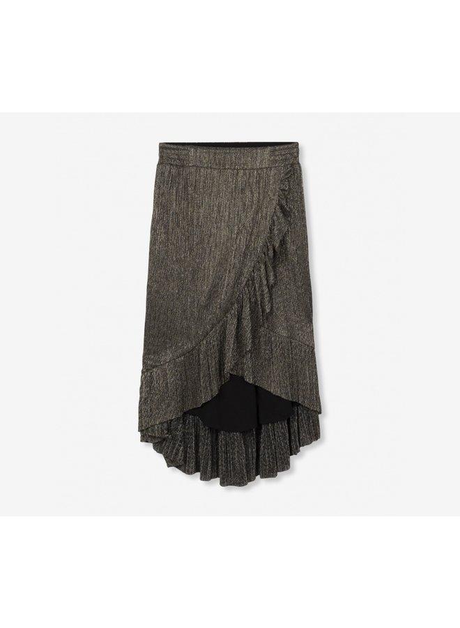 Mesh long skirt gold