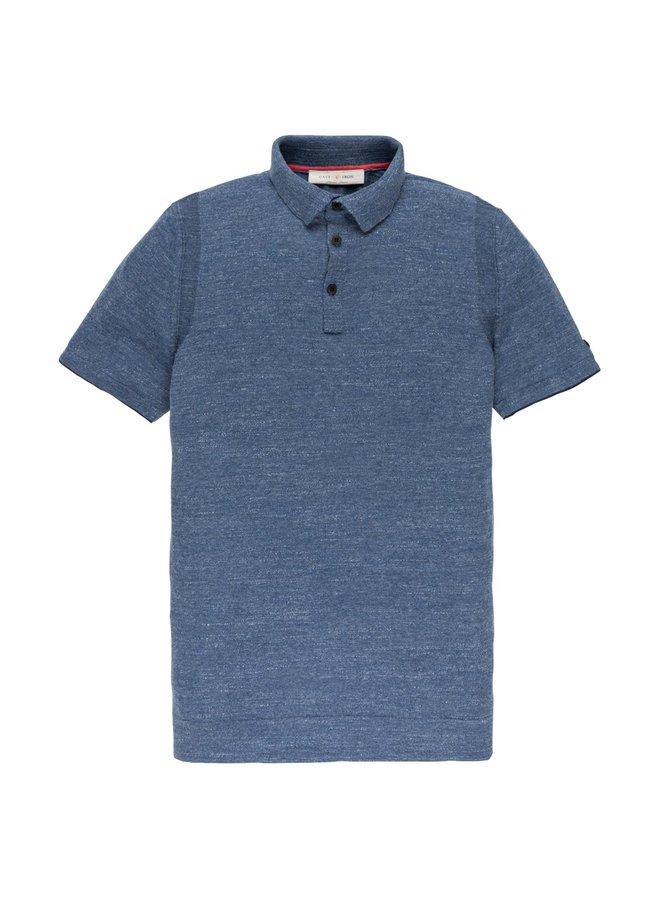 Short sleeve polo Cotton Uneven bu True Navy - CPSS202316-5054