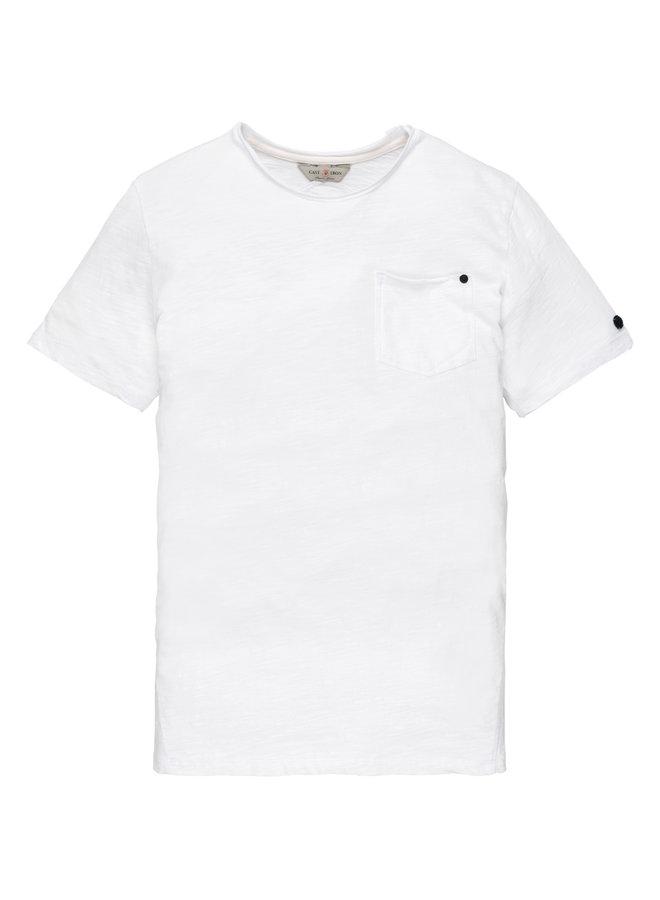 R-neck tee Slub Jersey Bright White