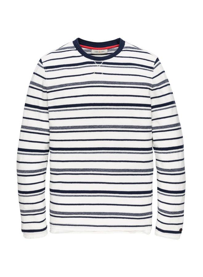 Long sleeve knit r-neck Mouline Stripe Dress Blues - CTS202202-5118