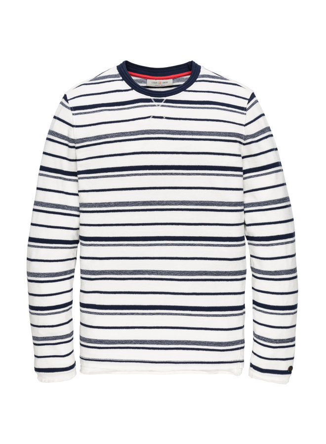 Long sleeve knit r-neck Mouline Stripe Dress Blues