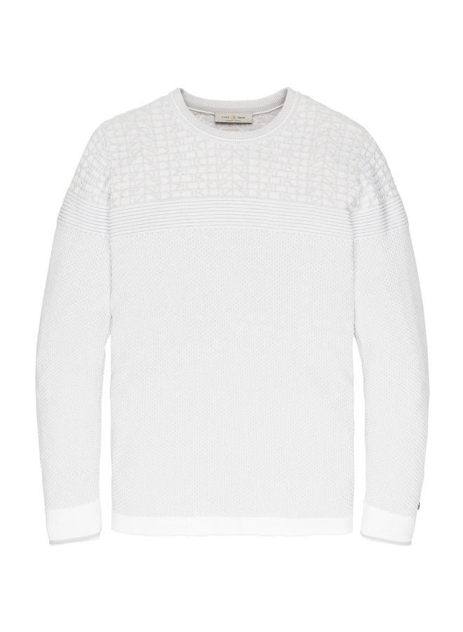 R-neck knit Cotton Plated Bright White