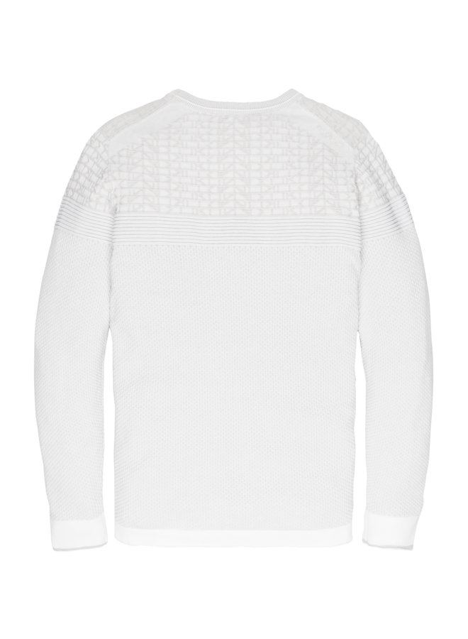 R-neck knit Cotton Plated Bright White - CKW201301-7003