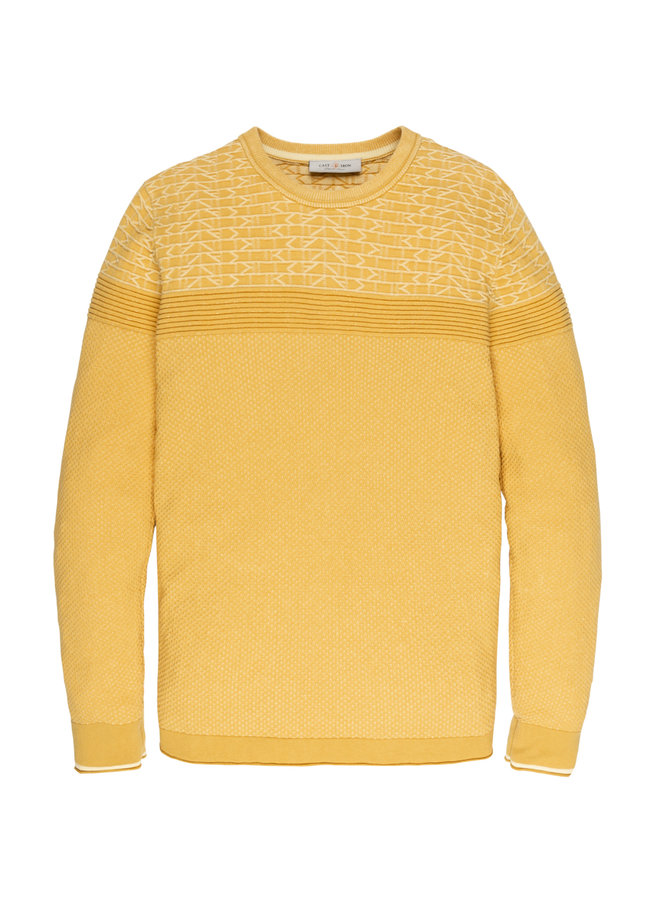 R-neck knit Cotton Plated Misted Yellow