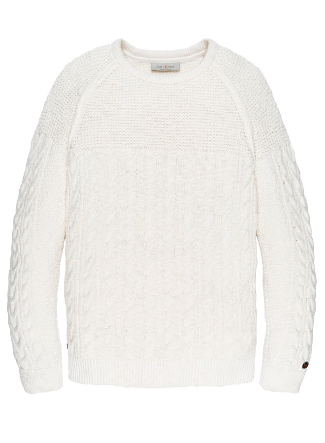 R-neck knit Cotton Slub Cable Egret