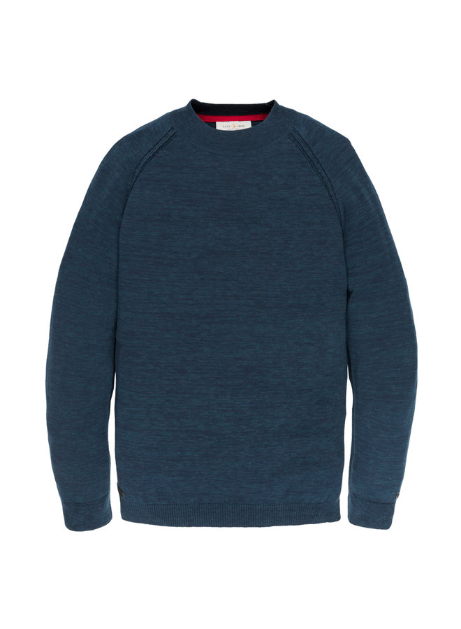 Turtleneck knit Cotton Melange Dress Blues - CKW198406-5118