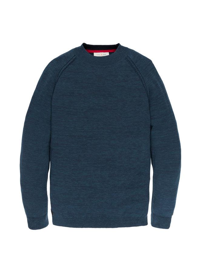 Turtleneck knit Cotton Melange Dress Blues