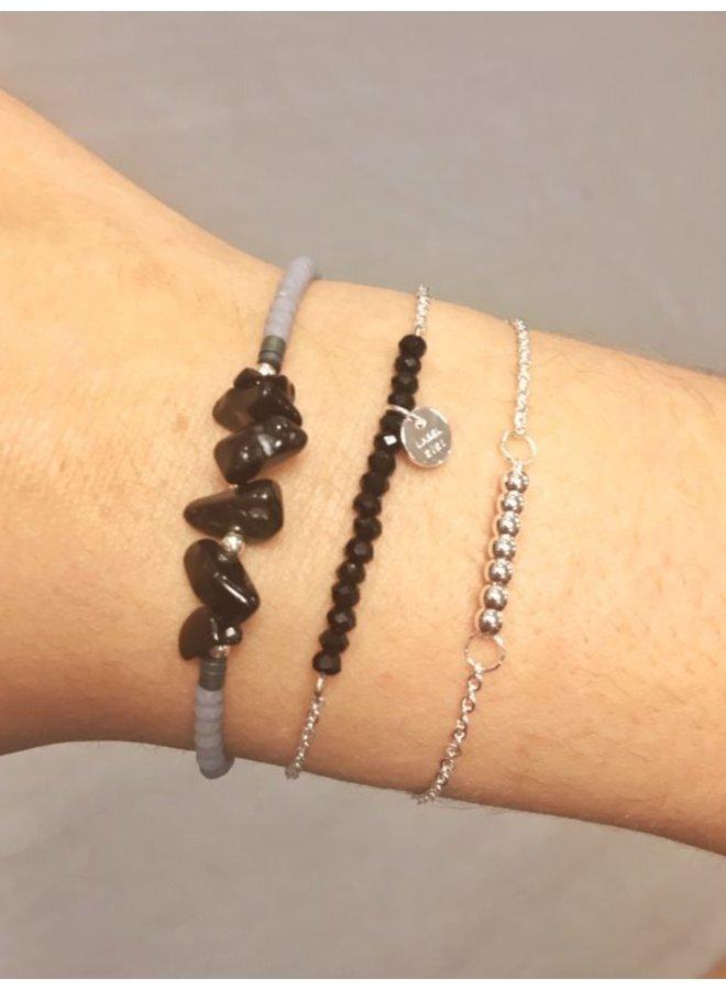 Black Stone Bracelet Silver - KSA102-SILVER