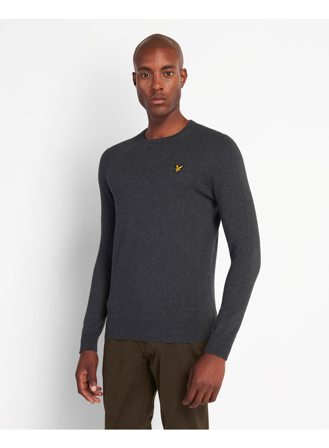 Crew Neck Cotton Charcoal Marl - KN400VC-398