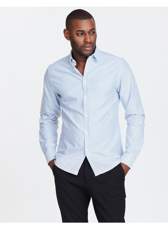 Christoph Oxford Shirt L/S Stripe Dark Navy - LDM410021-4692