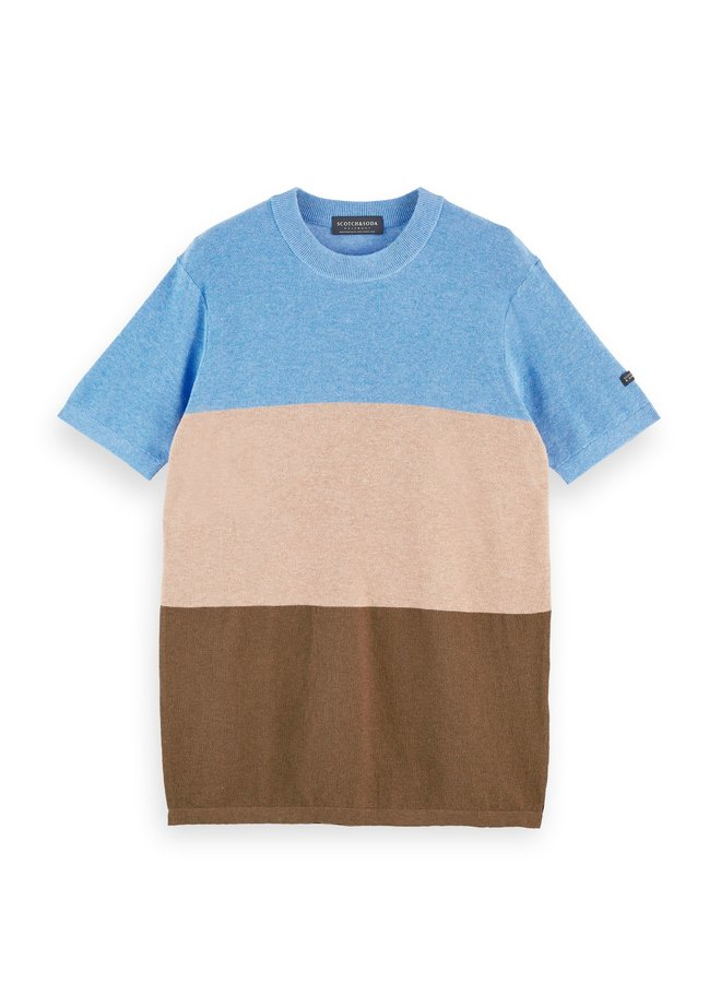 Block Striped Knitted Tee - 158628-0217