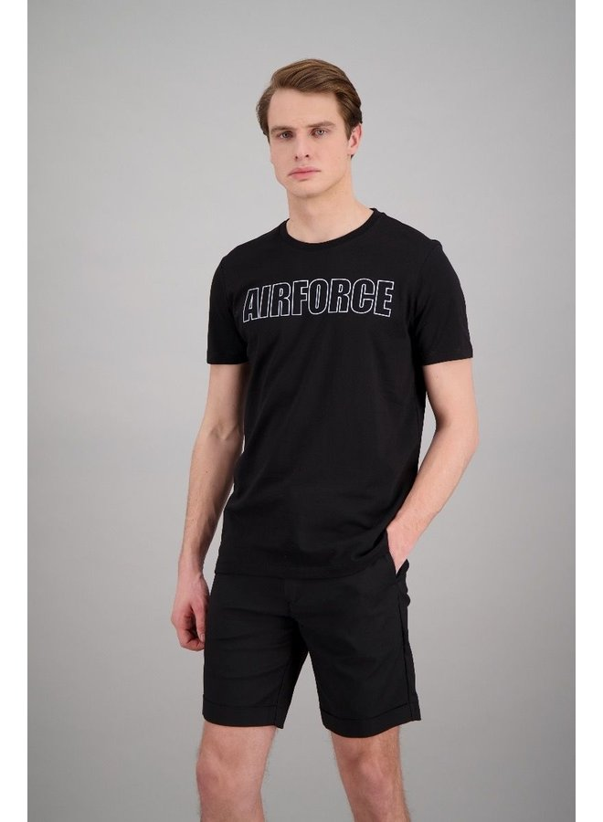 Outline airforce tee true black white