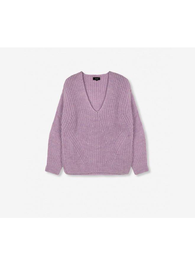 V-neck pullover lila