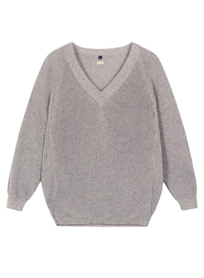 Thin sweater lurex silver
