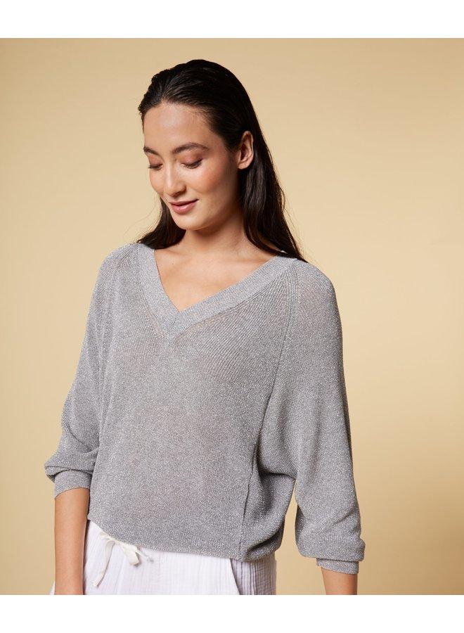 Thin sweater lurex silver - 206181201-1015
