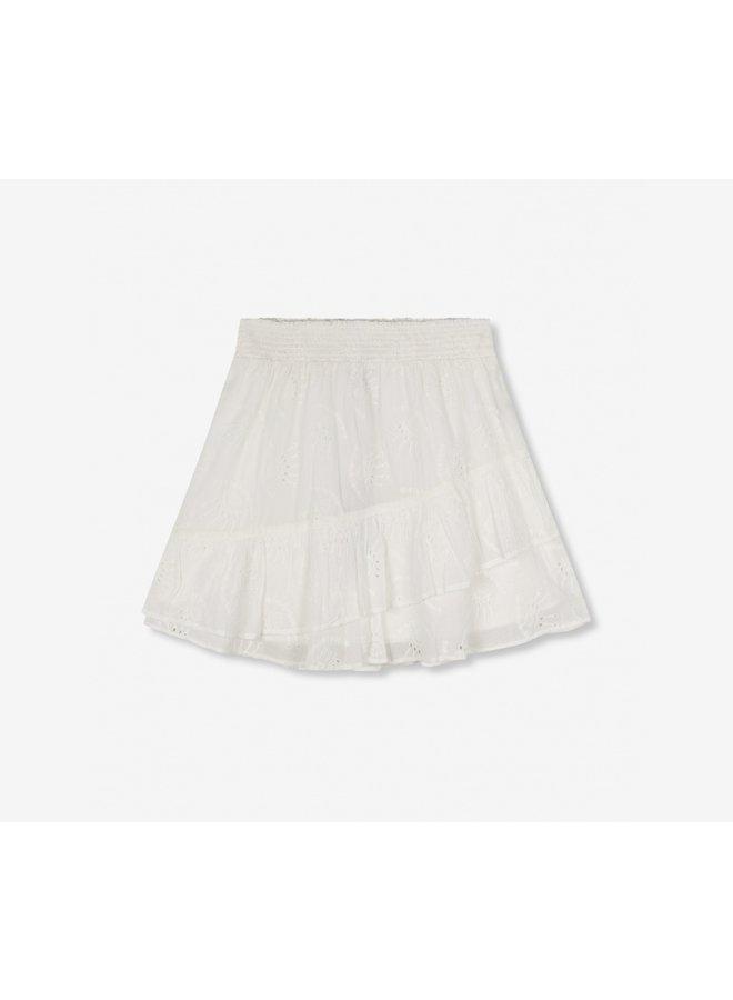 Broderie mini skirt soft white - 2104276055-012