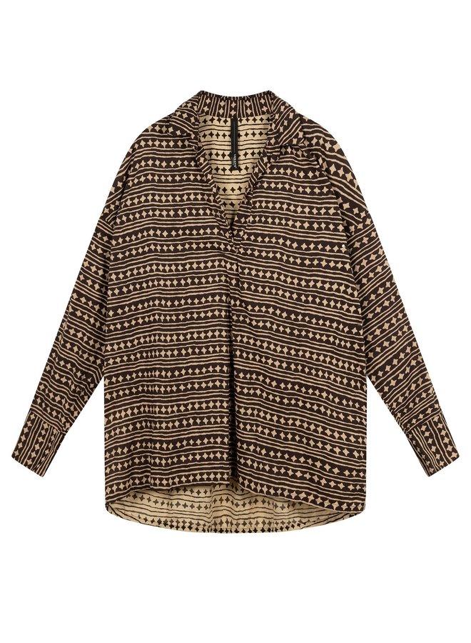 beach blouse stars soft black - 204011202-1048