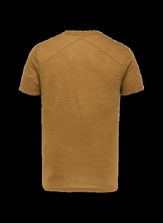 R-Neck Slim Fit Linen - Dull Gold - CTSS213551-8054