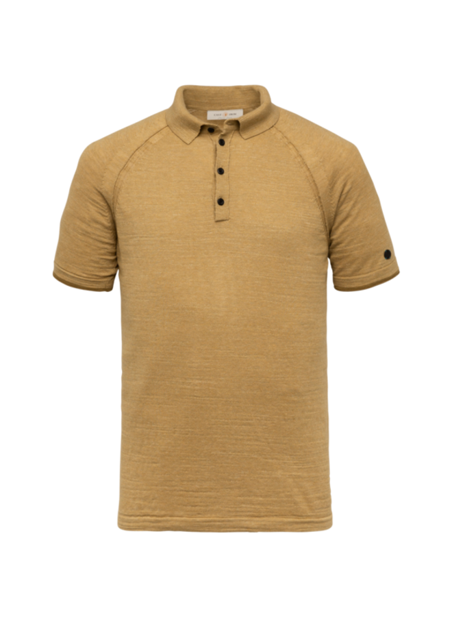 Short Sleeve Polo Slim Fit Knitted Cotton Melange - Dull Gold