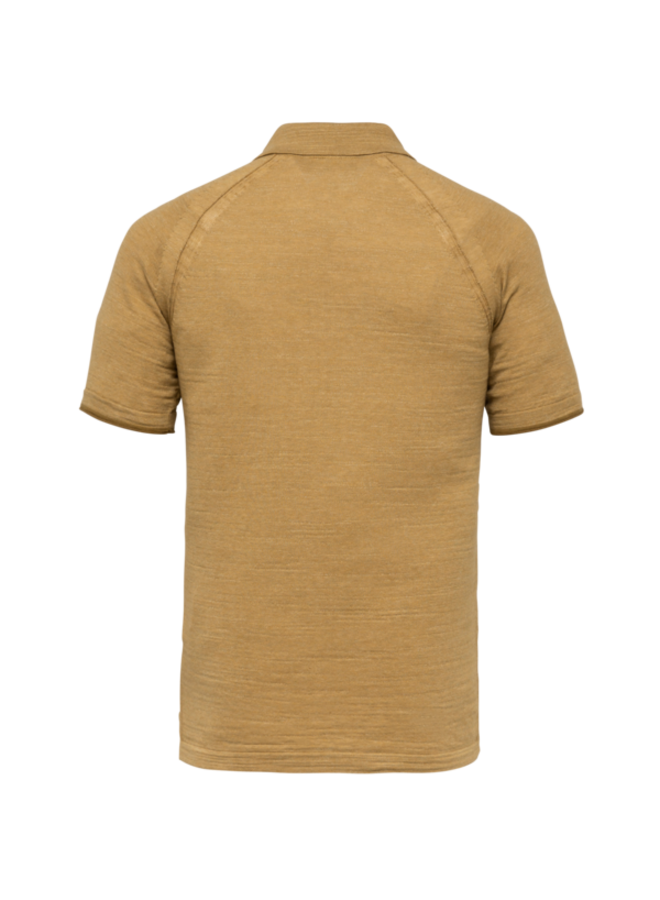 Short Sleeve Polo Slim Fit Knitted Cotton Melange - Dull Gold - CPSS213876-8054
