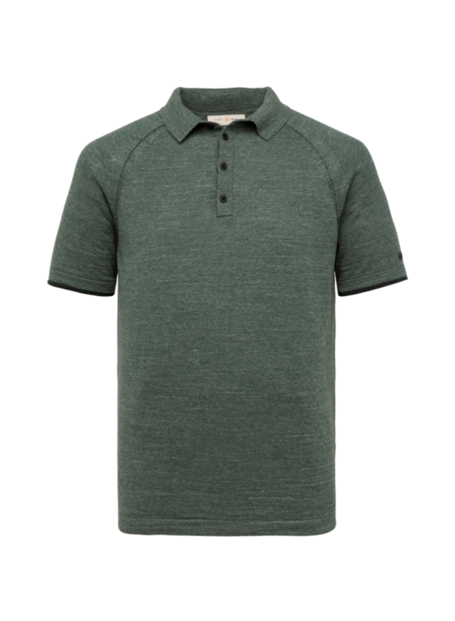Short Sleeve Polo Slim Fit Knitted Cotton Melange - Balsam Green