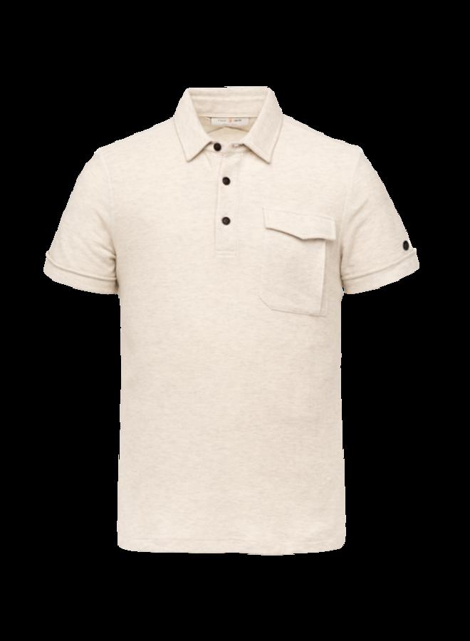 Short Sleeve Polo Slim Fit Cotton Twill - Bone White Melee