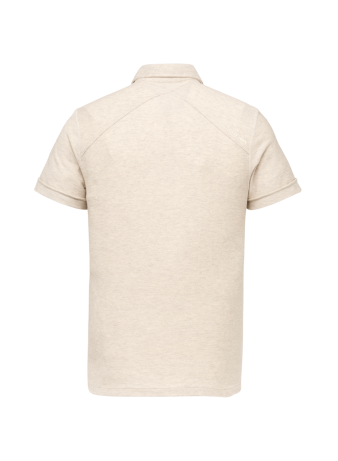 Short Sleeve Polo Slim Fit Cotton Twill - Bone White Melee - CPSS213873-910
