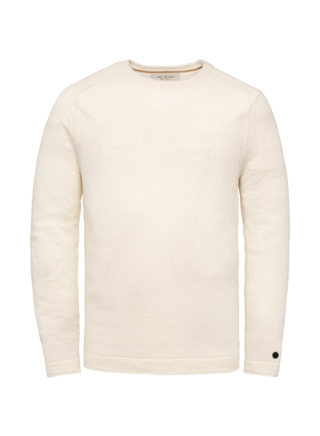 R-Neck knit Slim Fit Linen - Bright White
