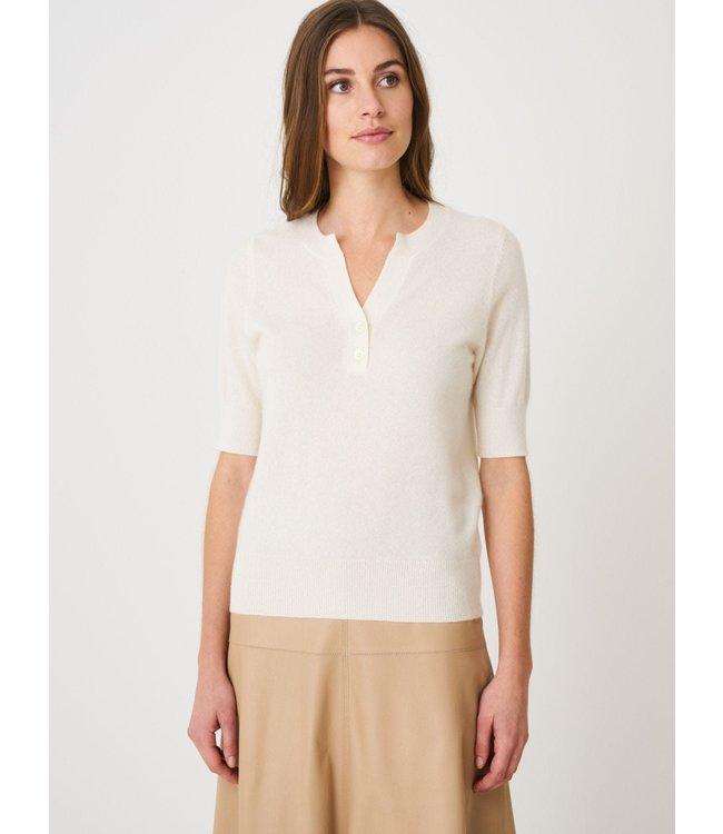REPEAT cashmere Cashmere sweater korte mouw cream