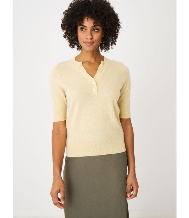 REPEAT cashmere Cashmere sweater korte mouw vanilla