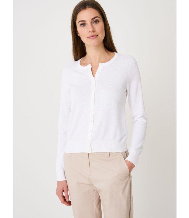 REPEAT cashmere Basic cardigan white
