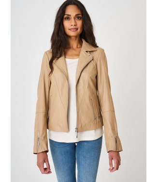REPEAT cashmere Leather jacket nougat