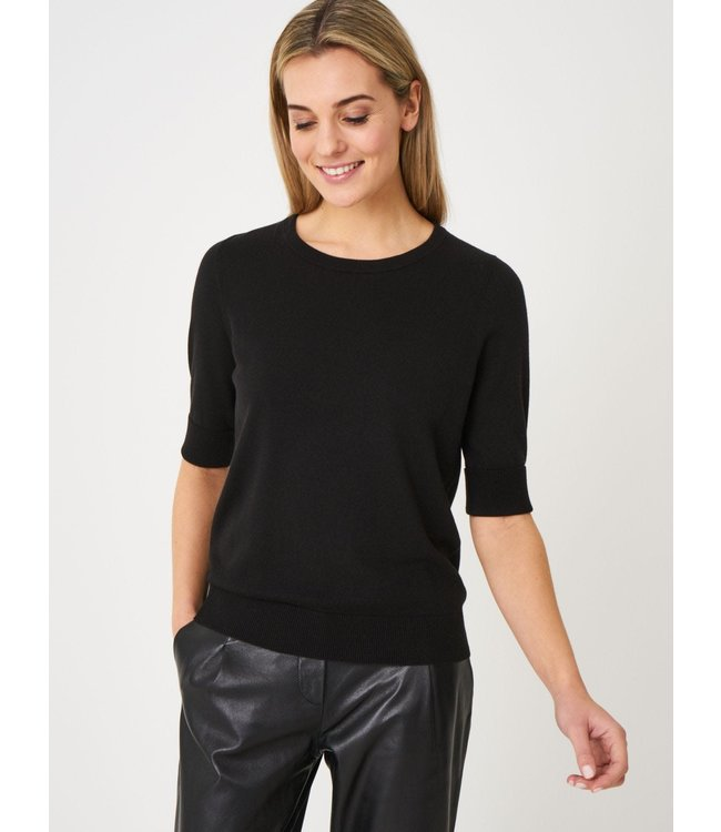 REPEAT cashmere Sweater korte mouw black