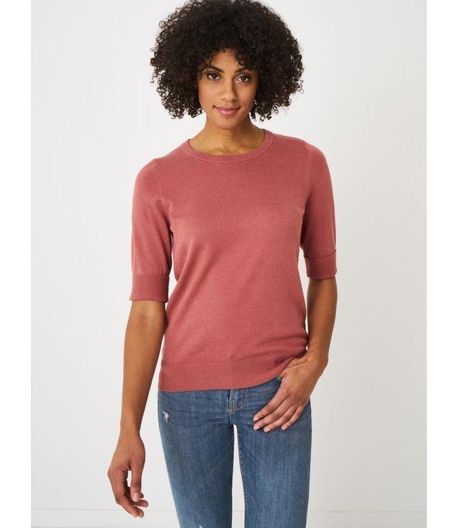 REPEAT cashmere Sweater korte mouw cinnamon