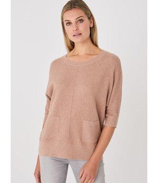 REPEAT cashmere Cotton sweater caramel