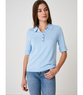REPEAT cashmere Polotrui met korte mouwen lt blue
