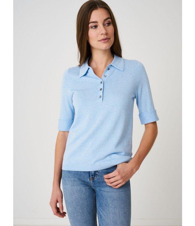 REPEAT cashmere Sweater met kraagje lt blue