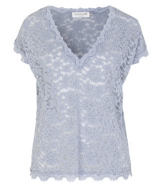 Rosemunde Shirt lace v-hals heather sky