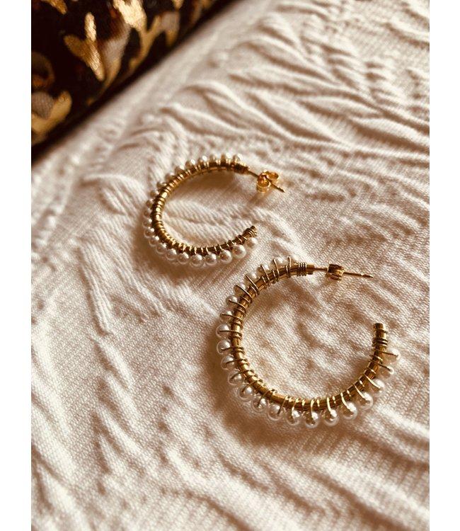 LOTT. gioielli Parel oorbellen Carli Creool goud