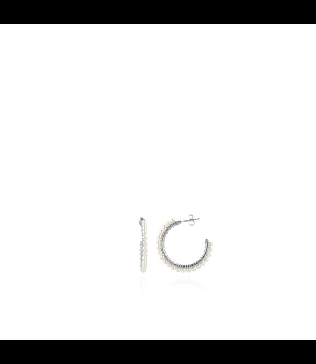 LOTT. gioielli Parel oorbellen Carli Creool zilver