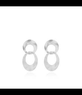 LOTT. gioielli Classic Dubbel Charm Satin oorbellen zilver