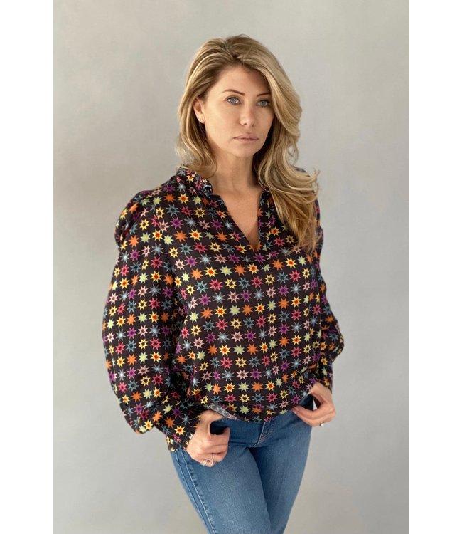 EST'SEVEN Est'Etoile blouse Black Rainbow Star