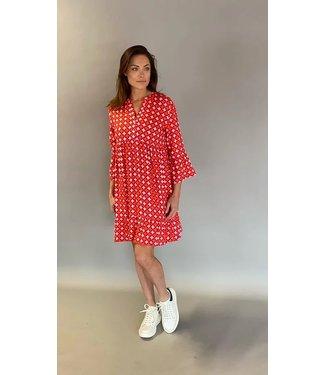 EST'SEVEN Est'Alice dress short Red Tile Print