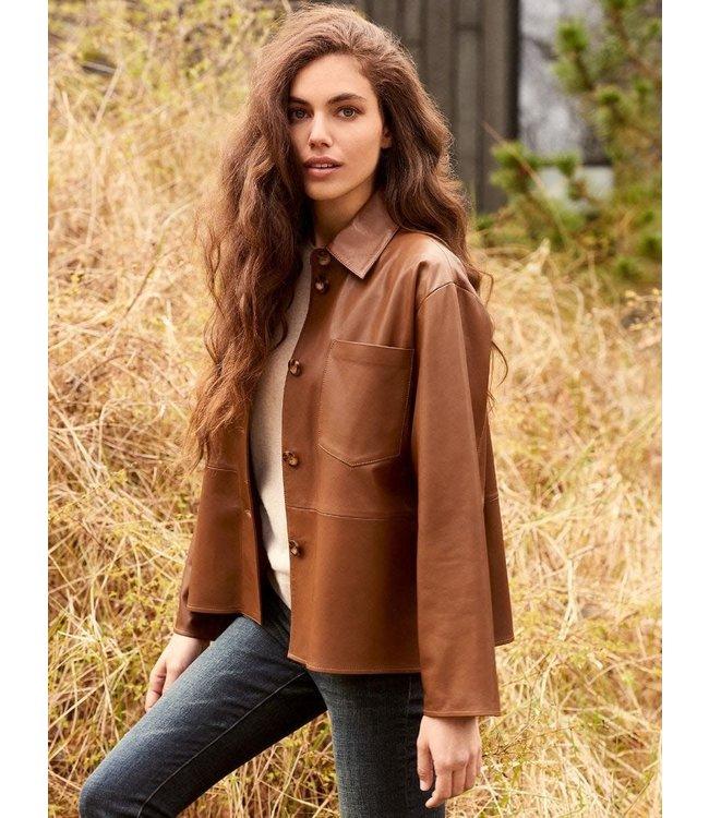 REPEAT cashmere Leather jacket hazel