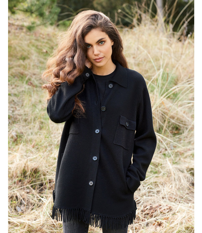REPEAT cashmere Cardigan black franjes